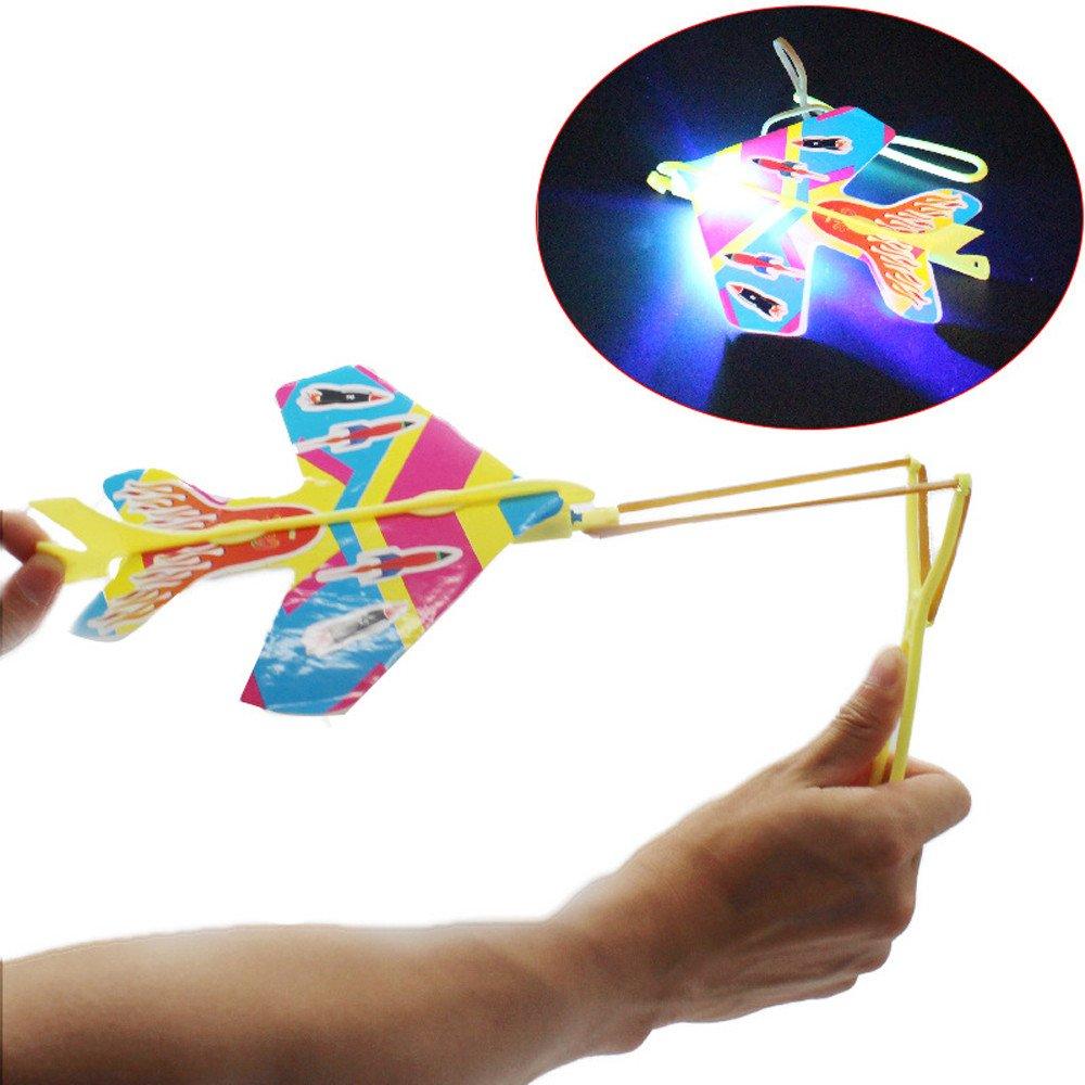 Maonet DIY Flash Ejection Cyclotron Light Plane Slingshot Aircraft for Kids Gift Toys (Random)