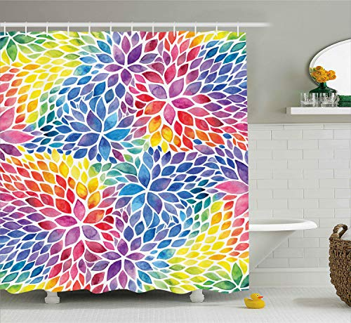 Ambesonne Rainbow Shower Curtain Floral Decor by, Colorful Petals Abstract Flowers Pattern Watercolor Effect Print Artsy Design, Fabric Bathroom Decorations, with Hooks, Rainbow Colors