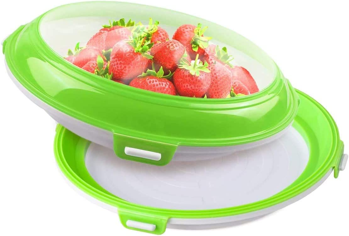 Food Preservation Trays Reusable and Stackable Food Tray Fridge Storage Container Tray for Vegetable Fruit Bread with Elastic Reversible Lid Keeping Food Fresh (2Pcs/Green)