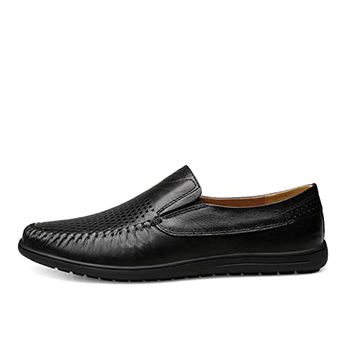 68da708796864 Fashion Shoes Genuine Leather Loafers 2019 Summer Men's Casual Shoes ...