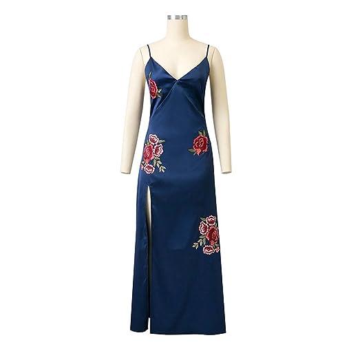 Amazon.com: Eloise Isabel Fashion Profundo Decote Em V Bordado Floral Elegante Spaghetti Strap Maxi Vestido Boho Vestido de Seda Plus Size SL: Clothing