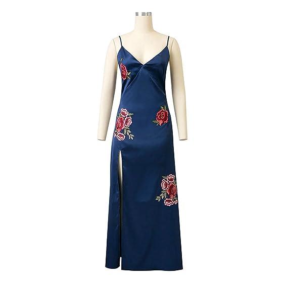 Eloise Isabel Fashion Profundo Decote Em V Bordado Floral Elegante Spaghetti Strap Maxi Vestido Boho Vestido