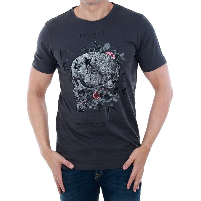 JACK & JONES Camiseta Hombre XXL Gris Oscuro 12134100 JORSCULLY Tee SS Crew Neck Asphalt/