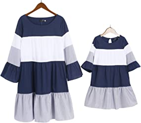 a4824fbf PopReal Mommy and Me Stripes Color Block Trumpet Sleeve Family Matching  Dress
