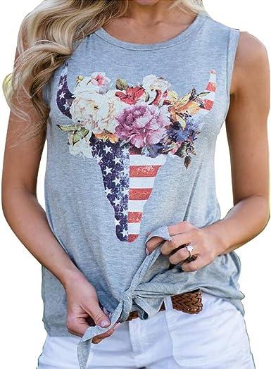 YUFAA Camiseta con Estampado de Cabeza de Toro Casual para Mujer, Estampado en la Parte Delantera, Nudo, Chaleco, Camiseta Tops Camisa de Entrenamiento (Color : Gris, Size : M): Amazon.es: Ropa y
