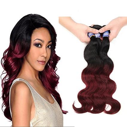 Peluca Elees Hair Ombre, extensiones de cabello virgen real humano brasileño ondulado,