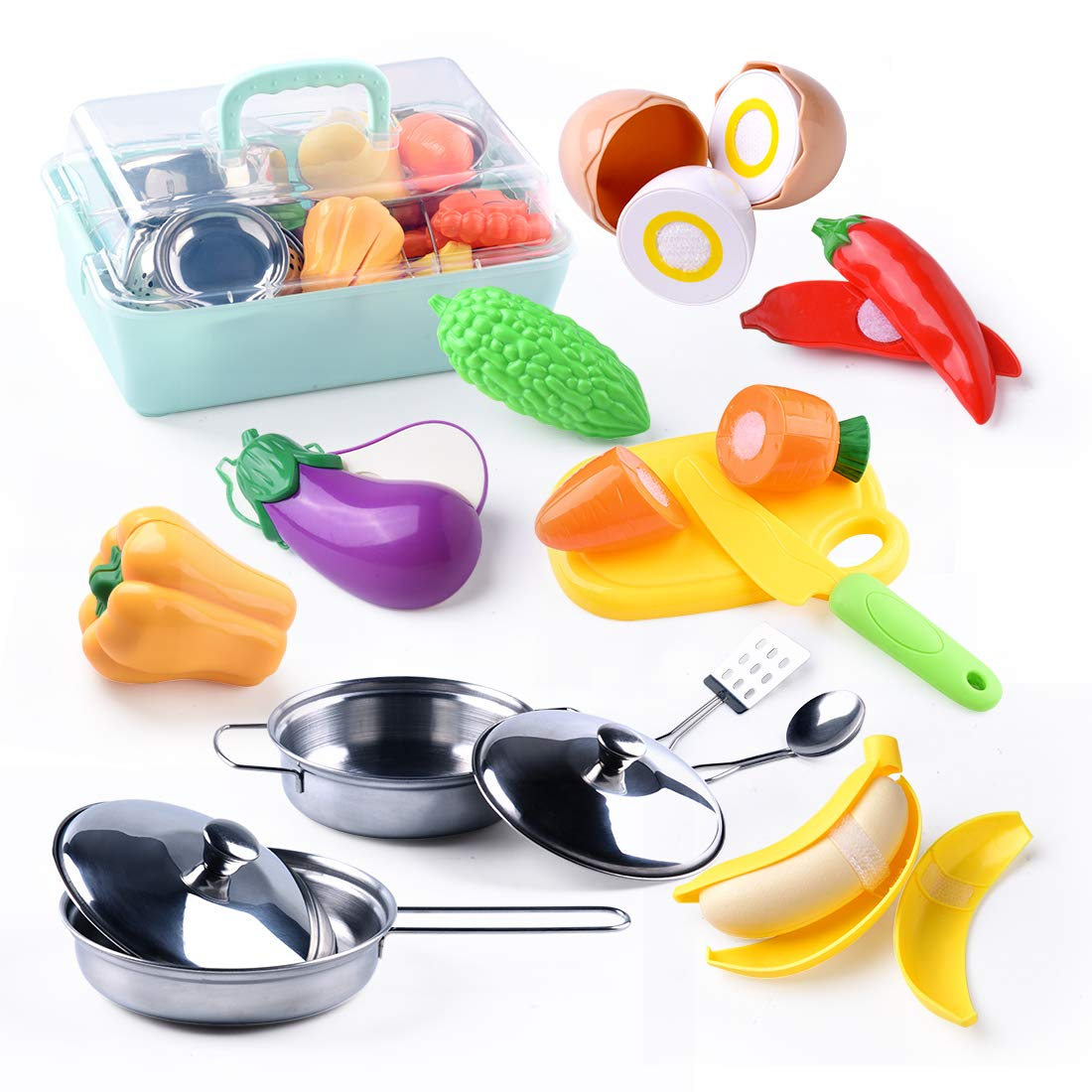 YIYUE Pretend Play Kitchen Toys, Stainless-Steel Toy Pots and Pans, Mini Utensils with Plastic Play Cut Vegetables with Safe Knife and Chopping Board