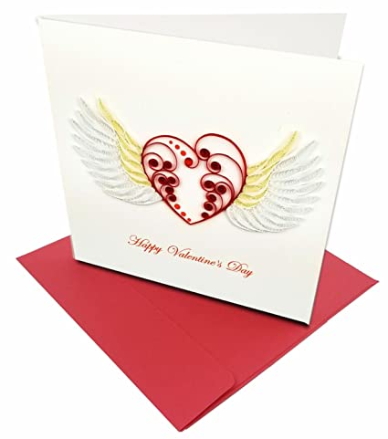Amazon Com Happy Valentine S Day Angel Wings Heart Quilling