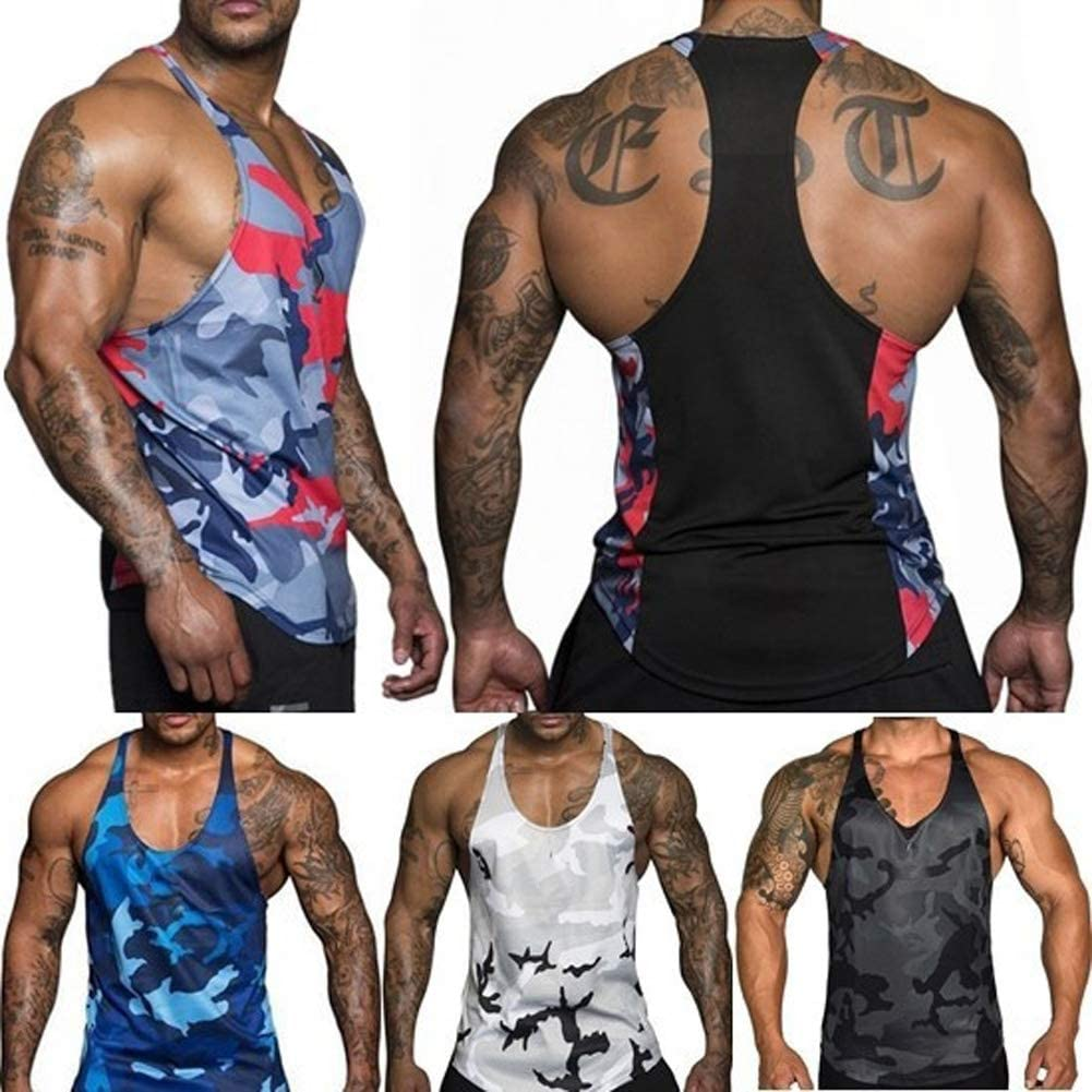 M/änner Y-Back Stringer Muscle Fitness Tank Tops Camouflage Athletic Trainieren Laufen Weste T-Shirts