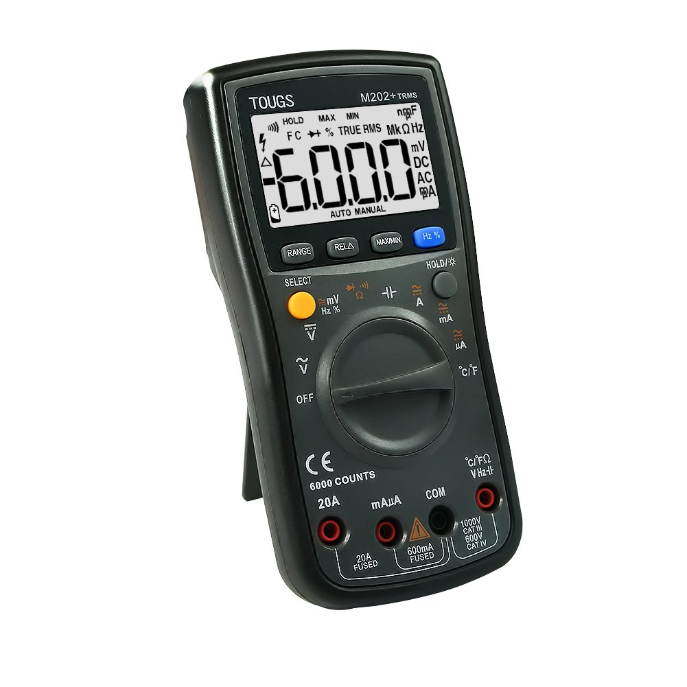 TOUGS M202 True-RMS Auto-Ranging Digital Multimeter Electricians Multi Tester with REL and Max/Min Data Hold