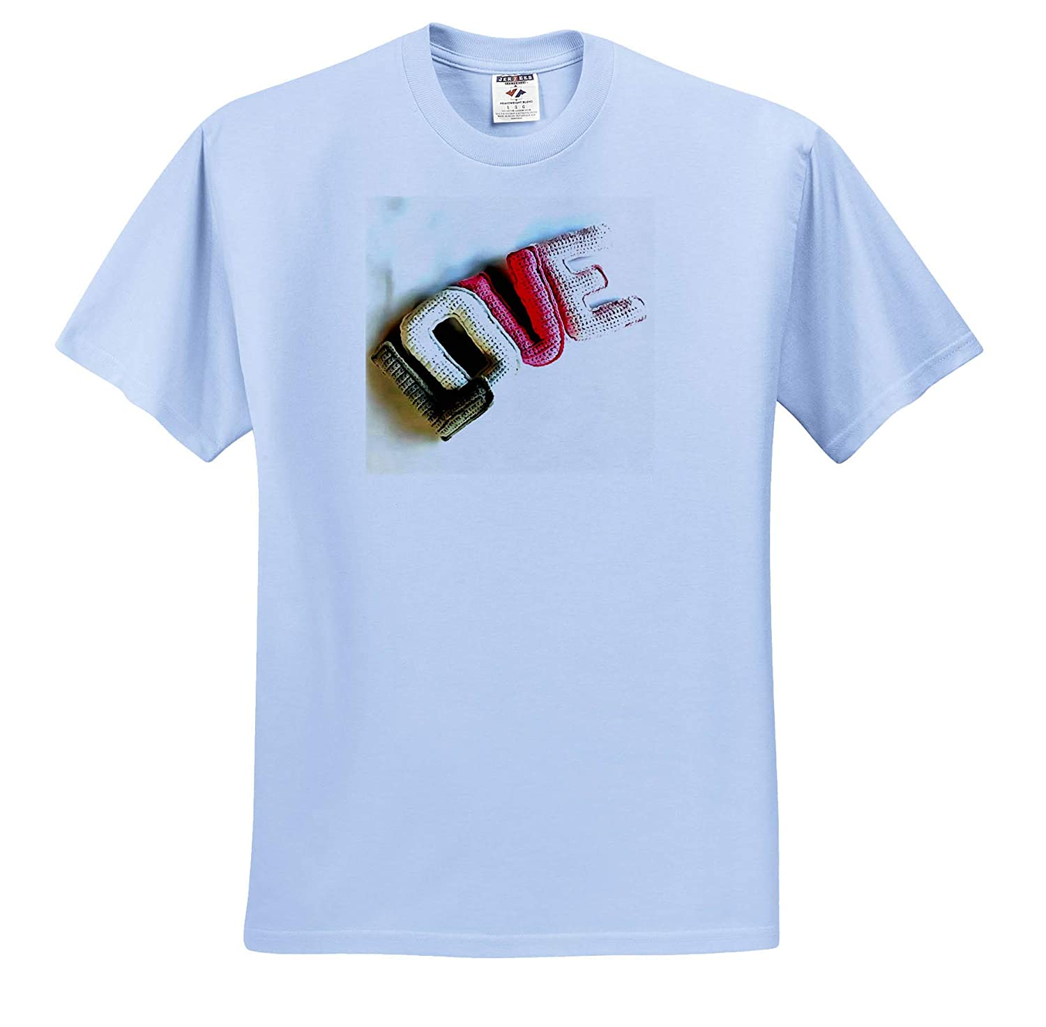 Acrylic Painting 3dRose Taiche T-Shirts Love Text Crafted Love Letters in Yarn