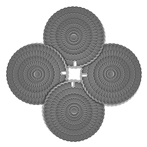 4pcs Hot Pad Trivet Gray, Zanmini Pot Holders for Hot Dishes, Insulation, Durable, Flexible Hot Pads, Pot Holders, Spoon Rest, Jar Opener