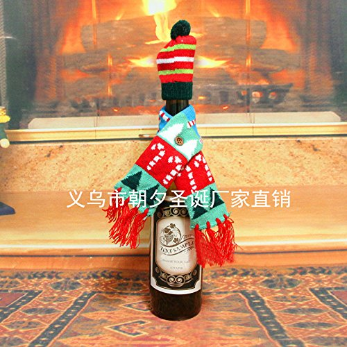 Christmas Wine Bottle Cover, Christmas Scarf Wine Bottle Ugly Sweater Covers with Beanie for Xmas Decoration Party by DomeXmas
