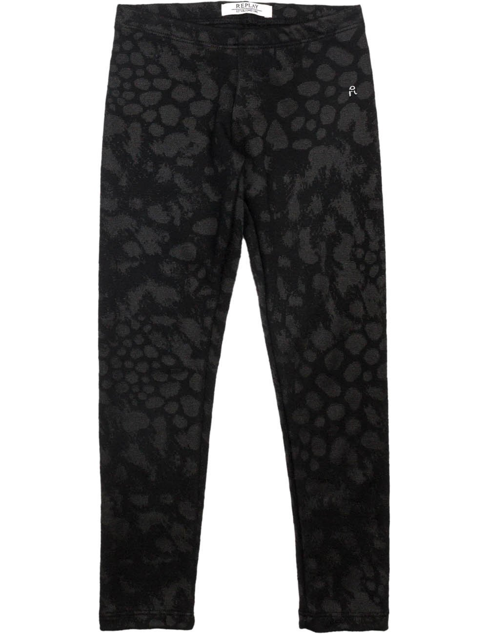 Replay Girls Black Jaquard Trousers With Pattern in Size 14 Years Black