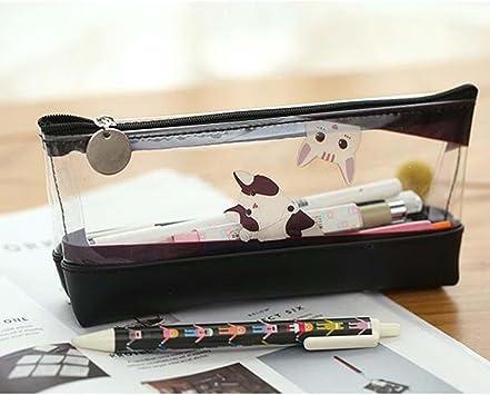 Mango King - 1 bonito estuche Kawaii (lindo en japonés) con motivos infantiles para bolígrafos, lápices y material escolar, transparente, duradero. Perfecto para regalo infantil, color negro: Amazon.es: Oficina y papelería