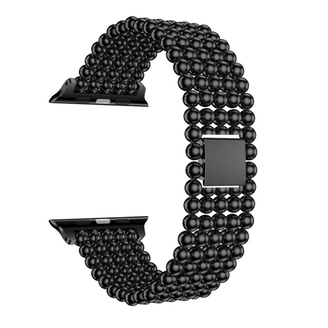 人工パールバンドfor Apple Watch、sukeq Luxuryステンレススチール時計バンドジュエリーバンドの交換用ブレスレットApple Watchシリーズ1 / 2 42 mm  ブラック B079HJH6M3