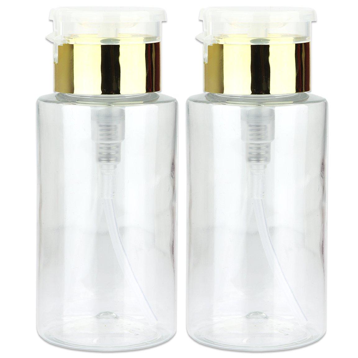 PANA Brand 7oz. (Quantity: 2 Pieces) Professional Push Down Liquid Pumping Bottle Dispenser (Gold Lid Clear Bottle, NO WORDING!!)