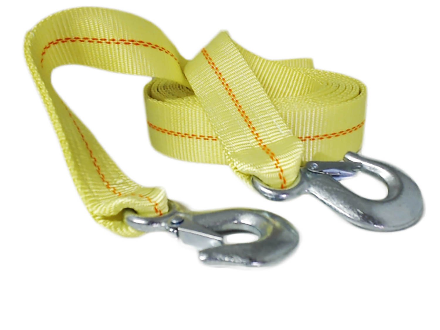 """ABN Tow Strap with Steel Clip Hooks 2"""" Inch x 20' Foot Vehicle Recovery Rope 10, 000 lbs Pound Capacity Recovery Strap"""