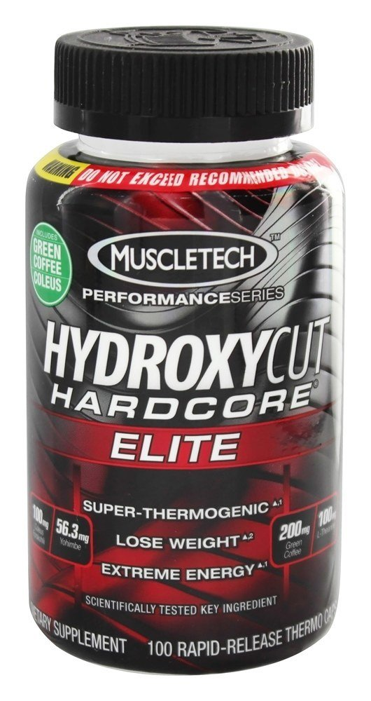 Hydroxycut Hardcore Elite-Svetol Green Coffee Bean Extract Formula, 100ct, 100mg Coleus Forskohlii, 56.3mg Yohimbe, 200mg Green Coffee, 100mg L-Theanin by MuscleTech
