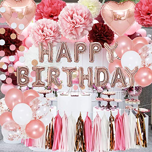 Rose Gold Pink Birthday Party Decorations Burgundy Tissue Paper Flower for Rose Gold Happy Birthday Balloons for Photo Backdrop Women 18th/20th/30th/40th Birthday Party ()