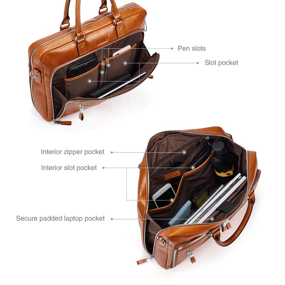 2235385b7f1a3 Aktentasche Herren Damen Ölwachs Echte Leder Vintage Businesstasche für 15.6  Zoll Laptop Arbeiten Umhängetasche Braun  Amazon.de  Koffer