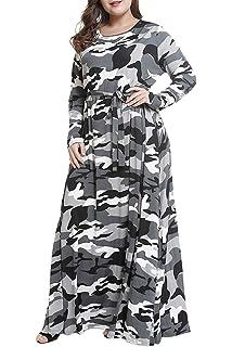 fbfc4df52e0d5 Suvotimo Women Plus Size Dress Elegant Camouflage Party Fit and Flare Maxi  Dresses