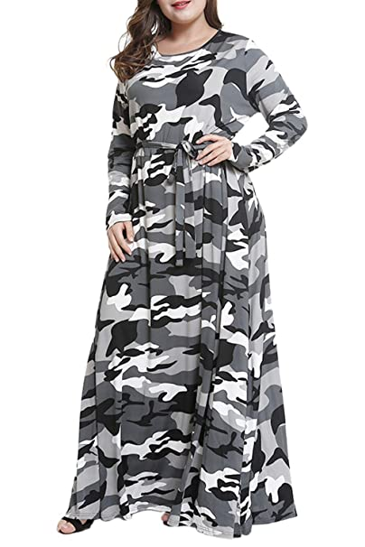 Suvotimo Women Plus Size Dress Elegant Camouflage Party Fit and Flare Maxi  Dresses