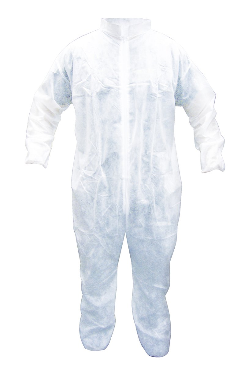 SAS Safety 6862-01 Hooded Polypropylene Disposable Coveralls, Medium, White, 25-Pack