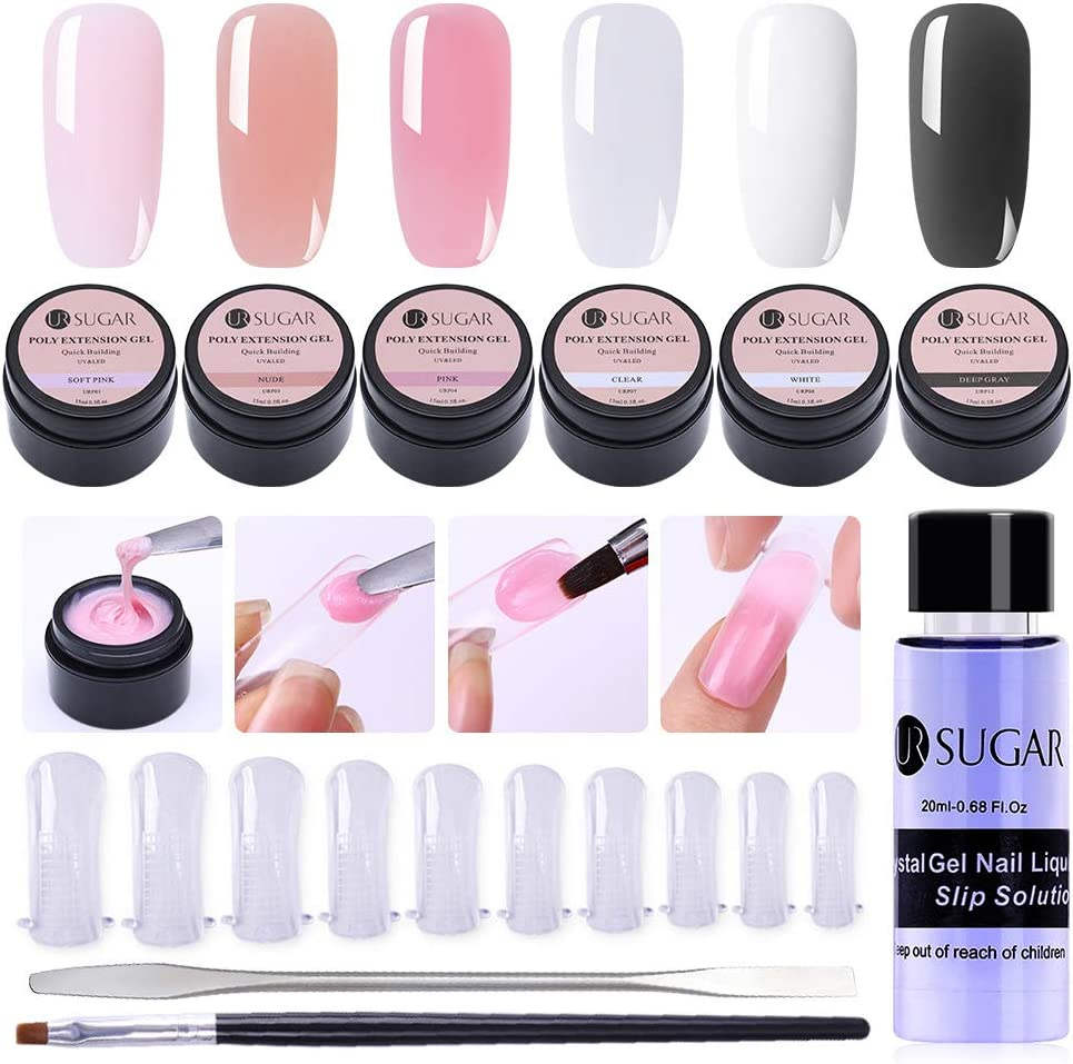 UR SUGAR 15ml Poly Nail Gel Kit Gel Constructor Uñas Gel Kit Completo Acrigel para Uñas Poligel -Brush+Picker, Dual Form, Slip Solution 6 Cajas Uñas Kit