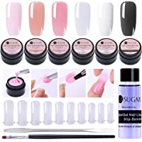 UR SUGAR Poly Extension Gel Nail Tips Builder Kit Colle, 6 Seal Coat Vernis à Ongles Cristal Poly Cristal Gel Polonais, Slip Solution, 100Pcs Tips Moule et Pen Brush+Picker Nail Art Outil Kit