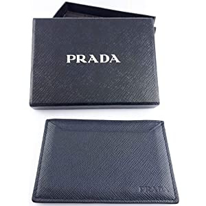 99300398 Prada Saffiano Cuir Logo Plaque Color Block Card Case, Blue/black ...