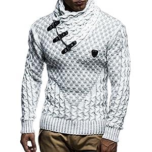 Leif Nelson pour des Hommes Pullover Pull en Tricot Hoodie Sweatshirt arrêtez-Vous Manche Longue col châle LN5255