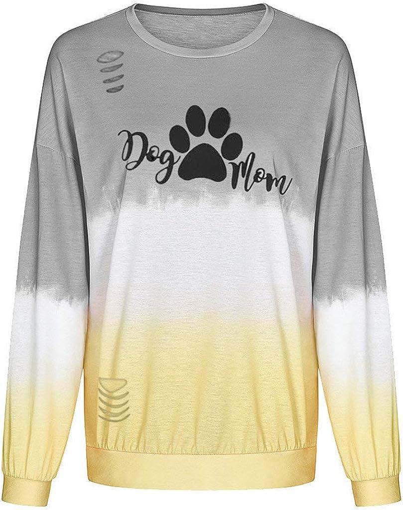 Rmeioel Womens Gradient Color Letter Flatteringtops Blouses Sweatshirt T-Shirt