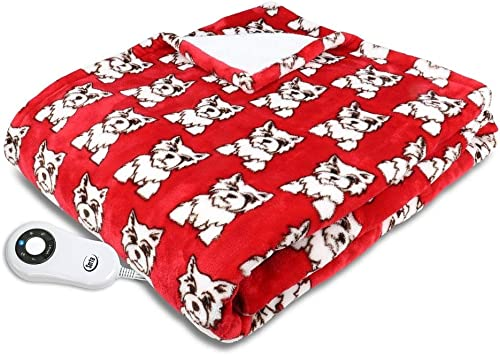 Serta Shiny Sherpa Electric Heated Warming Throw Blanket Dogs Red