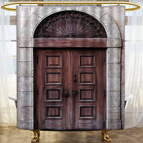 AmaPark Waterproof Mold and Mildew-Resistant Rustic Arched Wooden Venetian Door with Islamic Royal Ottoman Elements for Shower Stall Bathtubs 72 x 72 inches by AmaPark