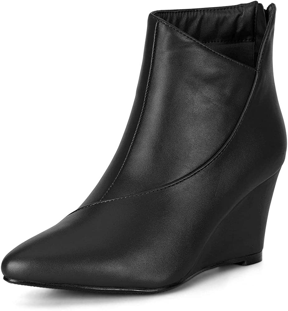 Pointed Toe Zipper Wedge Black Boots