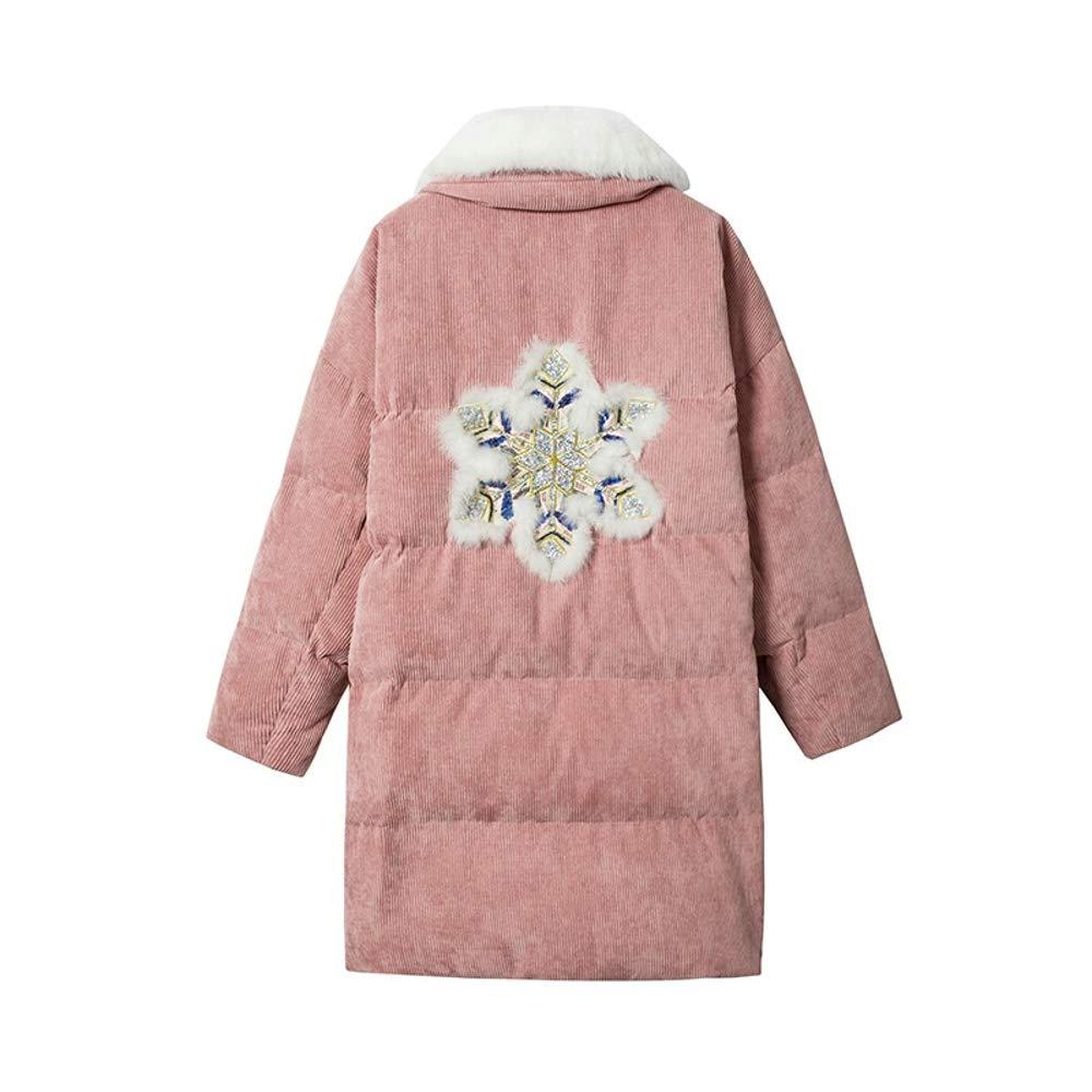 LQYRF Winter Ladies Long Appliqué Velvet Stand Kragen Fellkragen Warm-Down-Jacke