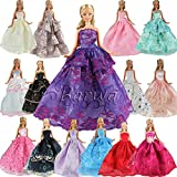 5 Pcs Handmade Fashion Wedding Party Gown Dresses & Clothes for Barbie Doll Xmas Gift