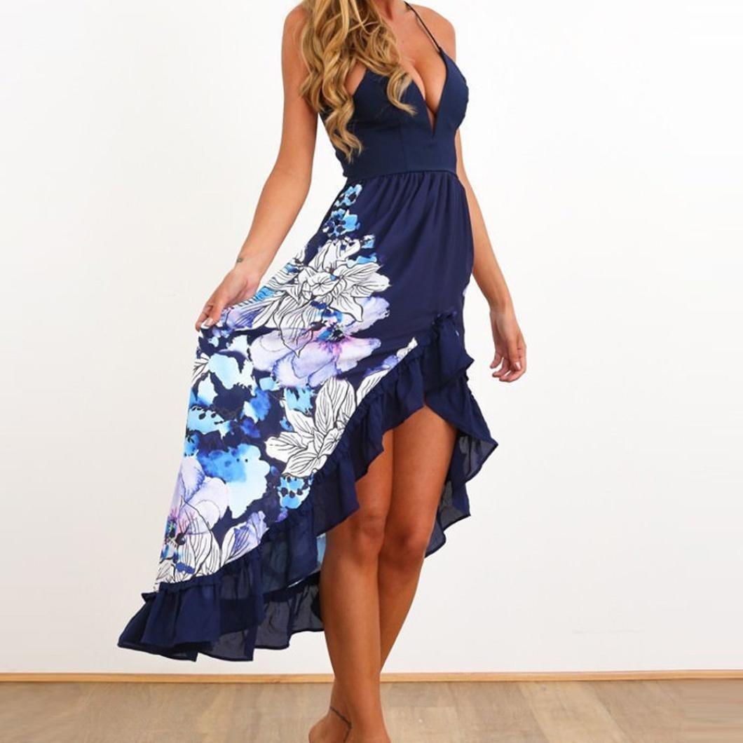 Damen Kleid Sexy Sommerkleid Boho Floral Abendkleid V-Ausschnitt ...