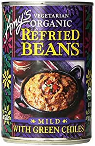 Amy's Vegetarian Organic Refried Beans, Mild with Green Chiles, 15.4 oz
