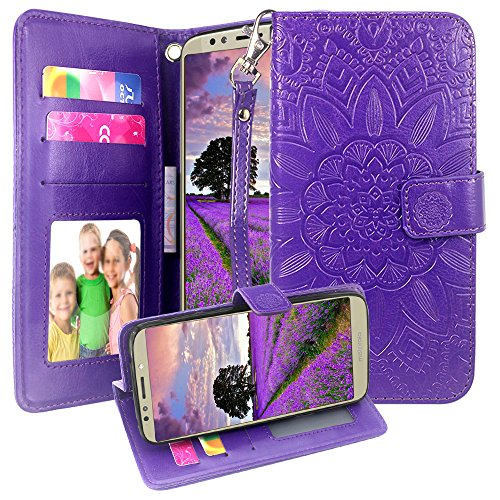 Harryshell Moto E5 Plus Case, Kickstand Flip PU Wallet Leather Protective Case Cover with Card Slots Wrist Strap for Motorola Moto E5 Plus / E5 Supra (Purple)