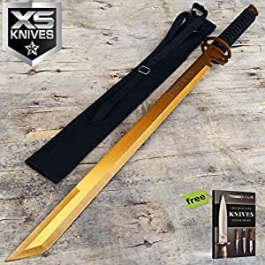 "27"" Gold Full Tang Blade Machete Tactical Katana Ninja Carbon Steel Razor Sharp Blade Sword w/Sheath + Free eBook by SURVIVAL STEEL"