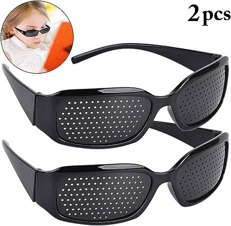 2 paires de lunettes de soleil en sténopé noires, lunettes