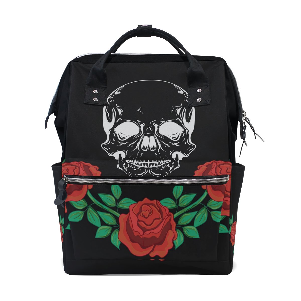 JSTeLノートパソコンカレッジバッグ学生旅行Skull and Roses 909学校バックパックショルダートートバッグ B078MYQFMN