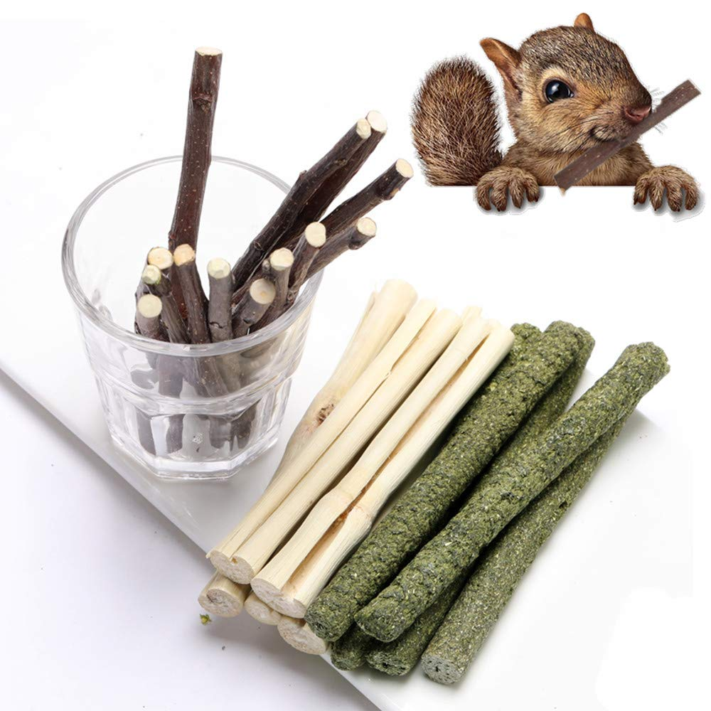 FLOURITHING 3 Types of Combined, 300G Guinea Pig Chew Molar Sticks Toys, All Natural Apple Branch, Timothy Stick, Sweet Bamboo, for Rabbits, Hamster, Bird, Etc.
