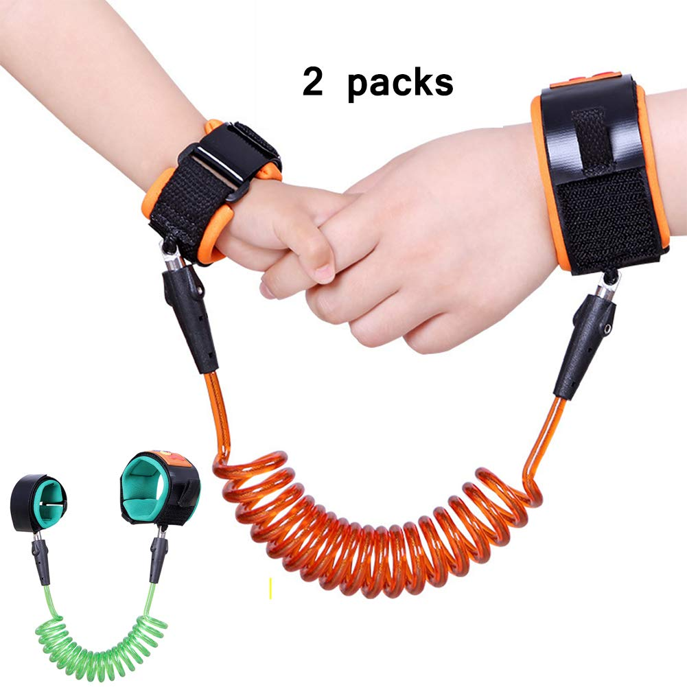 HBIAO Toddler Leash, 2 Pack Anti Lost Wrist Link, Toddlers Safety Wrist Leash Child Safety Walking Harness for Kids (Orange and Green)
