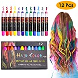 EZCO 12 Color Temporary Hair Chalk Pens Crayon Salon Washable Hair Color Dye Face Kit Safe for Makeup Birthday Party Christmas Gift for Girls Kids Teen Adult