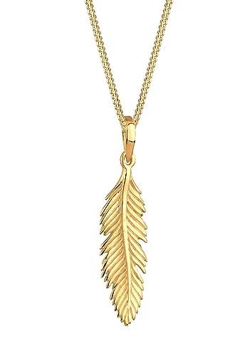 Elli Halskette Feder Boho Festival 925 Sterling Silber rosé vergoldet 45cm