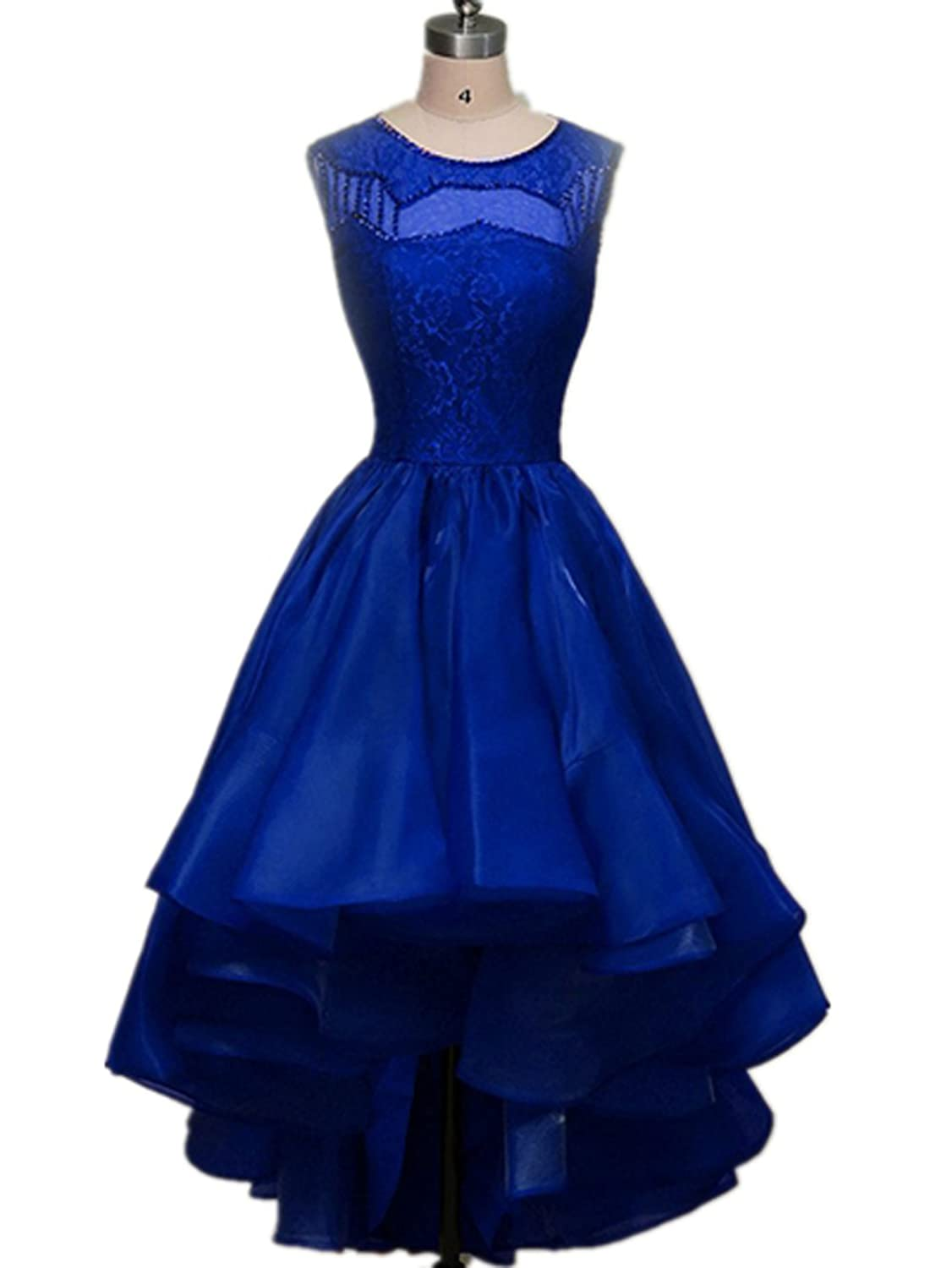 AIJIAYI Women's Scoop Beaded Asymmetrical Evening Party Cocktail Dresses Royal Blue US Size 4