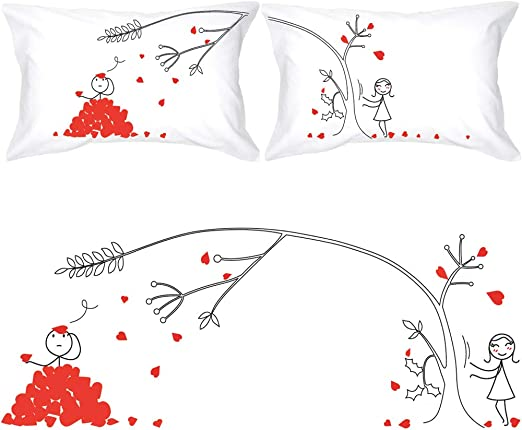 Hubby and Wifey Matching Couple Pillowcases Cute Couple/'s Pillow Covers